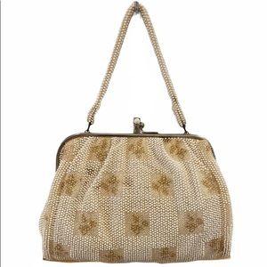 Vintage Cream/Champagne Beaded Evening Bag